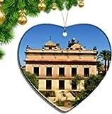 Kysd43Mill España Jerez de la Frontera Forma de corazón Adornos de Navidad Hoja de cerámica Recuerdo Ciudad Viaje Colgante Regalo árbol de Navidad Adornos Recuerdo Regalos
