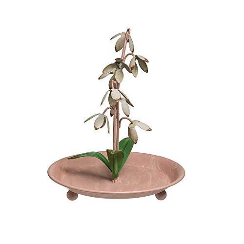 YANGYUAN Organizador de joyería colgante de la forma de la flor blanca rosada, organizador del tenedor del oído, exhibiciones de la joyería para los espectáculos