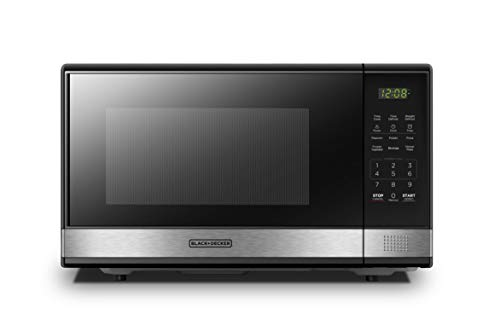 BLACK+DECKER EM031MB11 Digital Microwave Oven with Turntable Push-Button Door, Child Safety Lock, 1000W, 1.1cu.ft, Black & Stainless Steel, 1.1 Cu.ft
