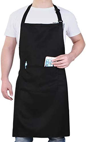 Will Well Adjustable Bib Aprons Water Oil Stain Resistant Black Chef Cooking Kitchen Aprons product image