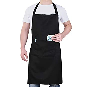 Will Well Adjustable Bib Aprons Water Oil Stain Resistant Black Chef Cooking Kitchen Aprons with Pockets for Men Women  1 Pack