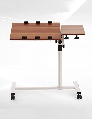 Personnalité créative Lit de côté Bureau d'ordinateur Portable Il Peut déplacer Tables rotatives Table Pliante Blanc et Noir (Couleur : Blanc, Taille : L*W*H: 48 * 40*(59-93) cm)