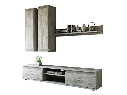 Wohnwand Check, mit 2 Hängeschränke TV-Lowboard und Wandregal, Wohnzimmerschrank, Matt (Canyon Weiß - Kiefer/Anthrazit.)