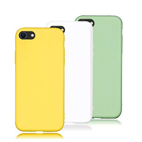 "TODO [3 pièces Coque iPhone 6 / 6S (4.7"") Housse Etui Flexible TPU Souple Silicone Ultra Mince Lége Anti - Rayures Gel Housse Pare-Chocs Protection - Jaune + Blanc + Vert"