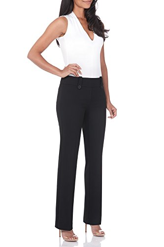 Rekucci Women's Smart Desk to Dinner Stretch Bootcut Pant w/Tummy Control (6 Short,Black)