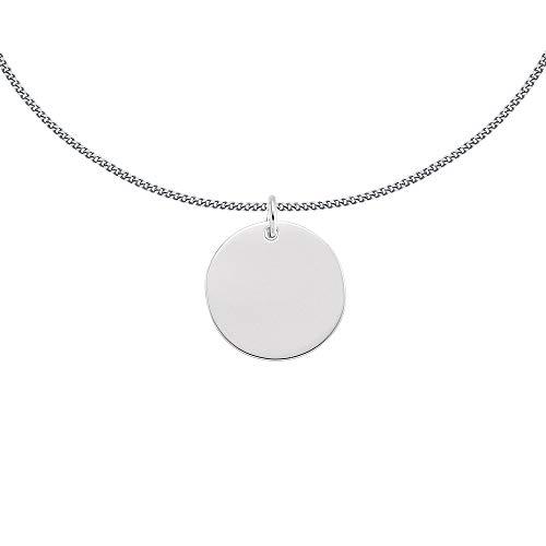 Jewelco London - Collana da donna in argento Sterling placcato al rodio, con medaglione a forma di disco rotondo, 45,7 cm