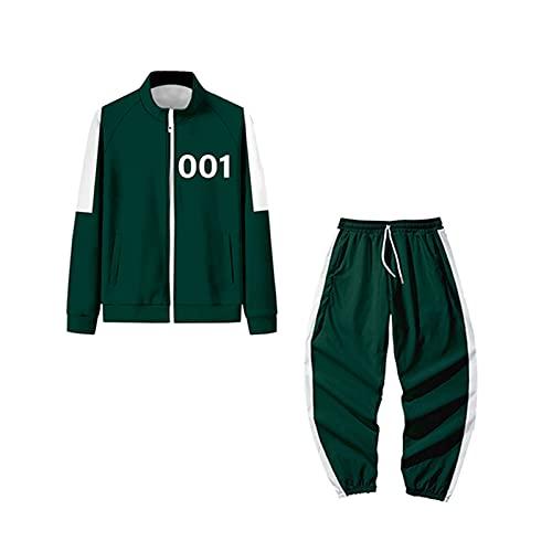 Bsemax 2021 001 - Felpa da uomo con cerniera e pantaloni da jogging, 2 pezzi, casual, stile casual, con blocco di colori, alla moda, casual, per corsa, fitness, calcio, basket, verde, S