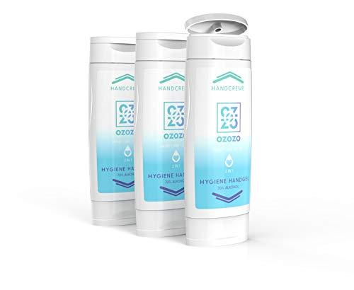 3x OZOZO Handcreme & Hygiene Handgel im praktischen TwinPack - Hand Care To Go - 70% Alkohol/Ethanol-Anteil - Schonend für Haut & Hand - Befeuchtet & schützt vor Umwelteinflüssen - In DE hergestellt