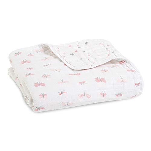 aden + anais - Couverture de Rêve Dream Blanket Prélavée en Mousseline 100% Coton - Imprimé Lovely Reverie - Quadruple-épaisseur 120 cm x 120 cm