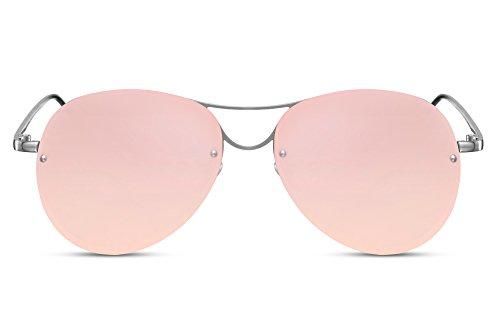 Cheapass Gafas de Sol Piloto Redondas con Espejos Rosas UV400 Sin Montura Lisas Hombre Mujer