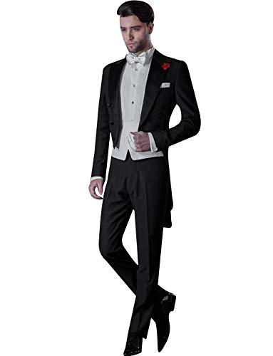 CALVINSUIT Herren Frack Formal Slim Fit 2 Stück Anzug Smoking Schwalbenschwanz Smoking