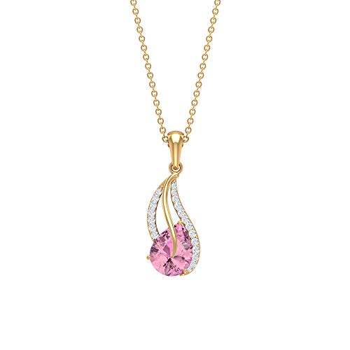 9X7 MM Pink Tourmaline Pendant, 0.14 CT Halo Diamond Pendant, Gold Chain Necklaces for Women, 18K Yellow Gold Without Chain