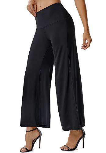 SEASUM Pantalon à Pattes d'éléphant Femmes Sport Bootcut Semi-évasé Taille Haute Large Confortable Extensible Relaxed Bootleg Causal pour Yoga Pilate Fitness Danse, C-Noir M