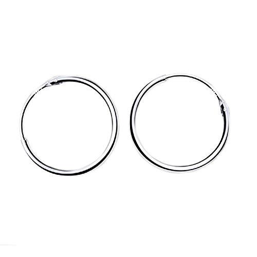 Cerchi in Argento Sterling 925 Con Gancetto-Orecchini Creoli Sleeper A Cerchio- Diametro: (18 MM)