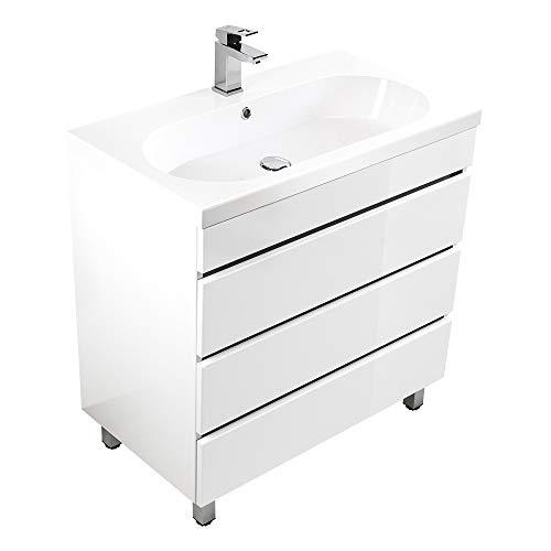 Lomadox Badezimmer Waschtisch mit Unterschrank 91cm Hochglanz weiß, inkl. Waschbecken, Made in Germany