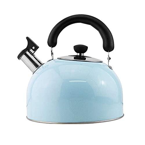 JIANGCJ Económico Whistling Candy Tea Kettle Acero Inoxidable Stovotop Tetera Cocina Inducción Inducción Universal KettleBlue, (Color : Blue, Size : 4L)