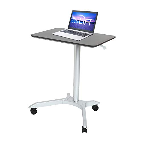 "Seville Classics Airlift Sit-Stand Adjustable Mobile Student Classroom Laptop Computer Desk Cart, 28"", Espresso"