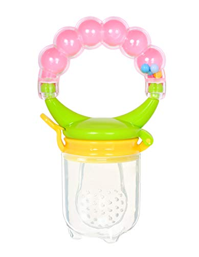 Mastela� BPA Free Food Grade Plastic Food Nibbler with Rattle Handle |Fruit/ Food Feeder/Pacifier/ Nibbler with Silicone Mesh/ Soother for Babies/ Kids/ Toddlers (Pink, Pack of 1)