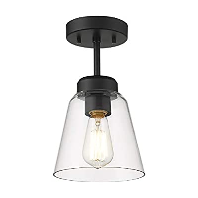 Eapudun Industrial Ceiling Light Fixture with Clear Glass Shade, Semi-Flush Mount Ceiling Lights Farmhouse Pendant Lighting for Kitchen Island Dining Room Foyer Hallway Entryway , SMA1146-MBK