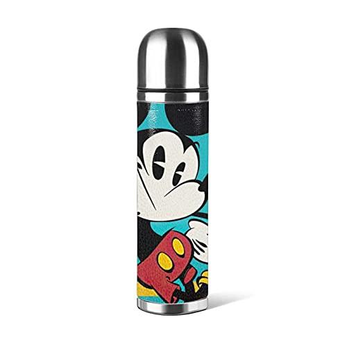 La estructura de acero inoxidable al vacío de doble capa de Mickey Mouse mantiene el líquido caliente y frío durante mucho tiempo, necesario para viajes, oficina y deportes al aire libre.