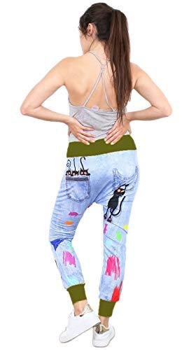 si moda Damen Baggy Jogging Haremhose Chino Sweathose Yoga Italy Ripped Jeans Look Motiv S/M