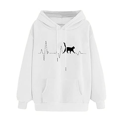 Uqiangy Womens Classic Hooded Sweatshirt Cute Print Hoodie Autumn Winter Casual Sport Pullover Tops With Pocket,M-XXXL (K-White, 18)