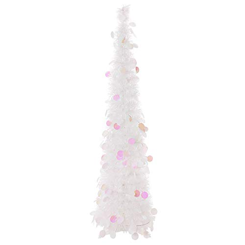 Snow White Artificial Collapsible Tinsel Christmas Trees, Wedding Home Party Decorative Tree, Glittering Sparking Xmas Decoration Tree Sequin Star Bling Pop Up Xmas Tree w/ Stand (Round,1.5m)