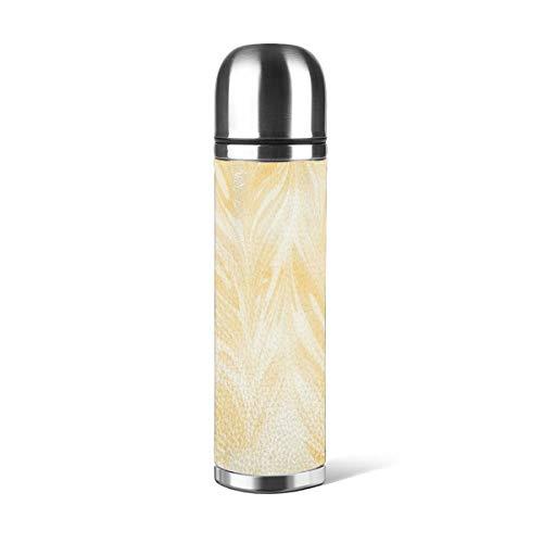Art Fan-Design Botella de agua de acero inoxidable con diseño de limón, color amarillo claro, abstracto, aislado al vacío, de cuero, a prueba de fugas, contenedor de viaje de doble pared, termo de 500 ml
