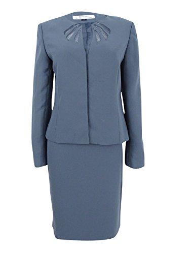 Tahari ASL Women's Illusion Skirt Suit (8, Cool Grey)