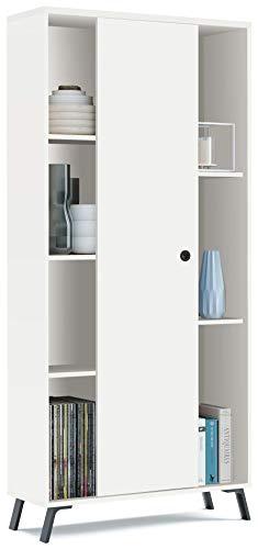 Pitarch Librería estantería Blanca kamet 1 Puerta corredera Comedor Estilo Moderno Mueble salón 180x80x30 cm