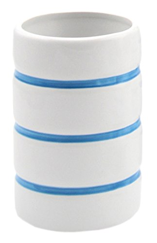 Lashuma keramiek tandenborstelbeker Nautica, ronde tandenborstelhouder wit - blauw gestreept voor tandenborstel en tandpasta, moderne keramische beker 11 cm