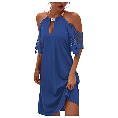 feftops Vestido con Cuello Halter para Mujer 2021 Verano Vestidos Bohemio Color SóLido Sexy Sin Tirantes Encaje Vestidos Casual Elegante Coctel Vestido Playa Fiesta Vestidos
