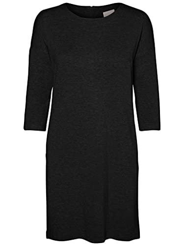 VERO MODA Damen Vmglory Vipe Aura 3/4 Dress Noos Kleid, Schwarz, L EU