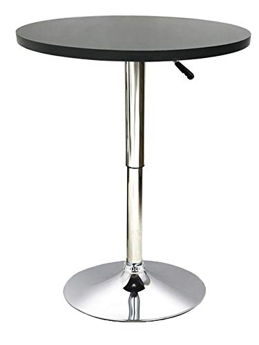 Millhouse Bar Table Adjustable Height 70-90cm Round Square Bistro 360 Swivel Café Kitchen Home Breakfast Table (Round 60cm, Black)
