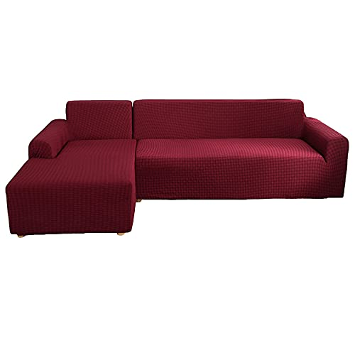 Funda Elástica para Sofá, 2 Piezas Funda para Sofá en Forma de L Jacquard Antideslizante Chaise Lounge Seccional Protector de Muebles para Mascota Perro Gato,Red,3+3 Seater