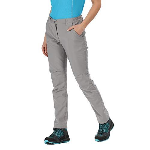 Regatta Technische Hose Stretch Highton wasserabweisend mit UV-Schutz 40 und Mehreren Taschen, reguläre Taschen, Damen, Seal Grey, FR: L (Größe Hersteller: 16)