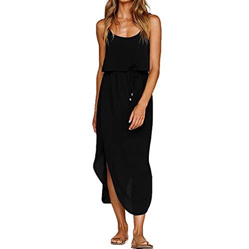 ZEFOTIM  Vestido de Verano para Mujer, con Tiras Ajustables, con Cordones, Estilo Informal, para Playa - Negro - Medium
