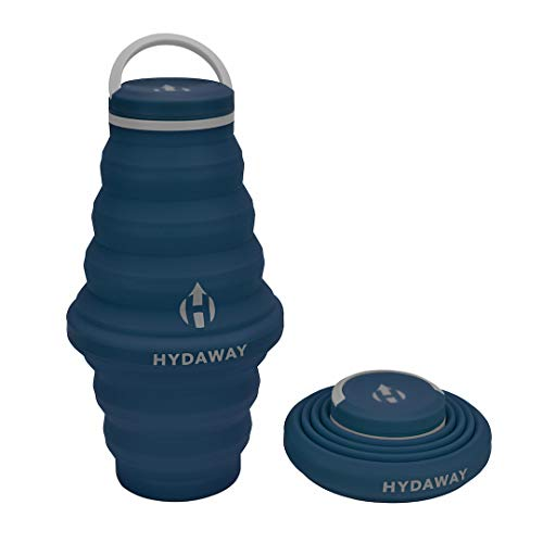 HYDAWAY Collapsible Water Bottle, 25oz Cap Lid | Ultra-Packable, Travel-Friendly, Food-Grade Silicone (Seaside)