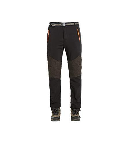 DEKINMAX Pantalones de senderismo para hombre, softshell, para exteriores, resistentes al viento,...