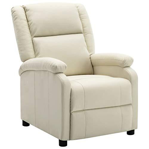 vidaXL Sessel Verstellbare Fußstütze Rückenlehne Fernsehsessel Relaxsessel Ruhesessel Polstersessel Liegesessel TV Weiß Kunstleder