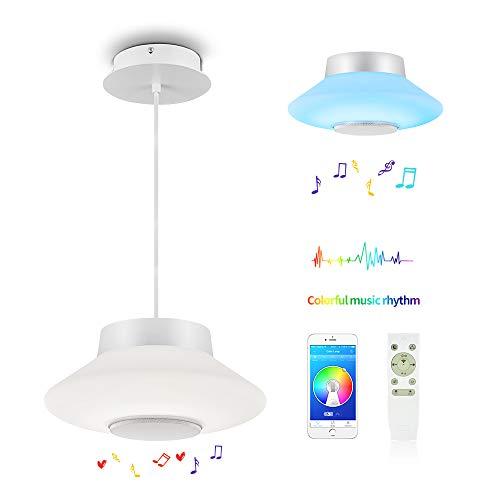30W LED Pendelleuchte Farbwechsel Modern Dimmbar Pendelleuchte mit Fernbedienung Hängelampe Weiß Hängeleuchten für Wohnzimmer,Esszimmer,Arbeitszimmer,Schlafzimmer