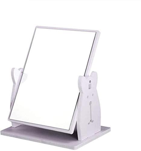 XIAOGINGV Trucco Creativo Desktop Mirror con cassetto, Ruota di legno sveglio del coniglio dello specchio di trucco con Rack cassetto del gruppo Fai da te Desktop Storage Box cosmetici dell'organizzat