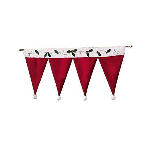 Canjerusof 1 Stück Weihnachten Gardinen Ausgebogte Volants Für Küche Dekorative Red Curtain Valance Darpes 35