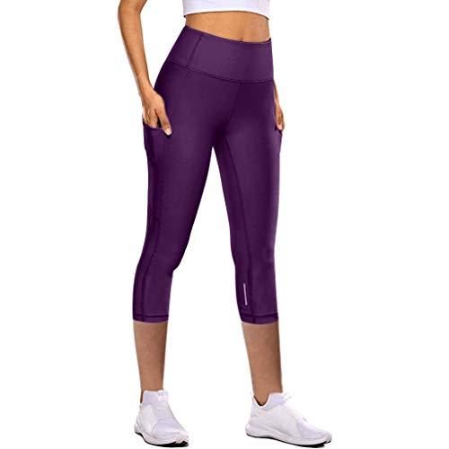 3/4 Hosen für Frauen High Waist Skinny Damen Hose Sporthose Sport Leggings Schwarz Laufhose Fitnesshose Tights Jogging Yoga Hose mit Taschen Schnelltrocknend Dehnen mit Reflektierender Streifen