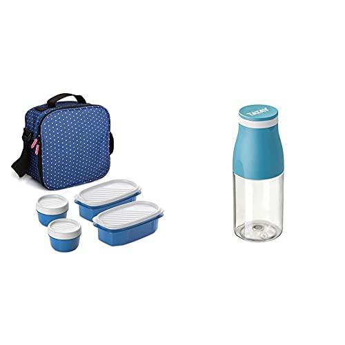Tatay Urban Food Casual Bolsa Térmica Porta Alimentos, 3 L de Capacidad, Color Azul + Botella Urban Drink de 400ml, Hermética, de Tritán, Libre de BPA, Resistente a Rotura, Color Ocean
