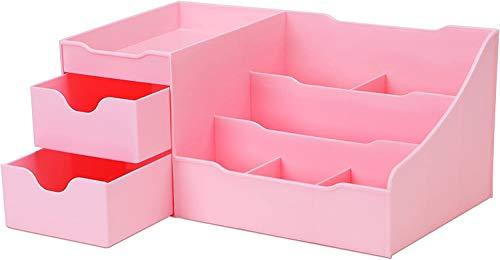 Eilecentyhzm Caja para maquillaje y joyas con cajones para guardar joyas y joyas, relojes, accesorios, gafas, lápiz labial y otros cosméticos (28,5 x 18 x 10 cm, rosa)