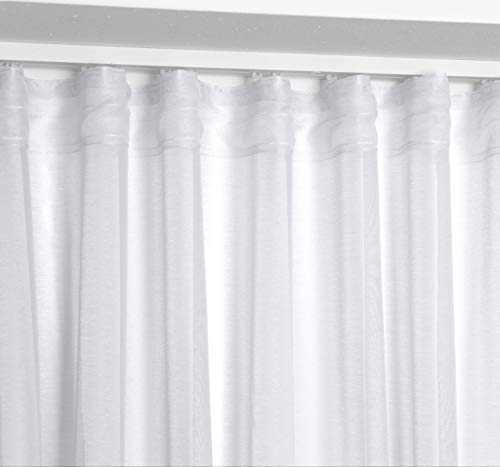 BEAUTEX Vorhang mit U-Band 140x250 cm (Farbe Wählbar) transparente Kräuselband Gardine, Dolly (Weiß)