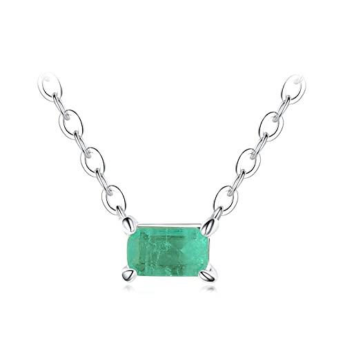DAQUANTOU Collar de Plata de Ley 925, Collar de Turmalina Verde, Colgante para Mujer, Joyería de Declaración de Boda de Moda, Oro,Plata