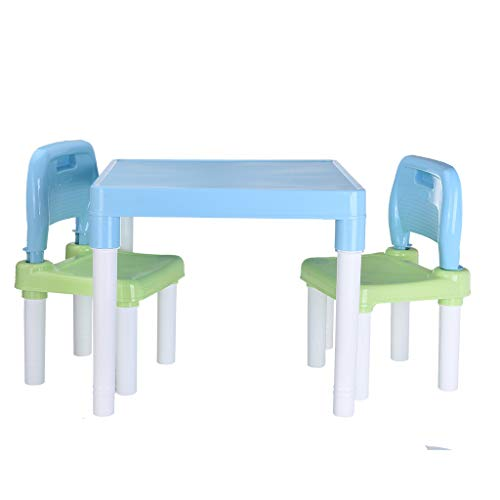 TOUNTLETS Kids Plastic Table and 2 Chairs Set,Boys Girls Toddler Children's Learning Tables and Chairs Set, Kids Activity Table and Chair Set, Girls Toddler Best Gift for 3, 4, 5 Year Olds and Up