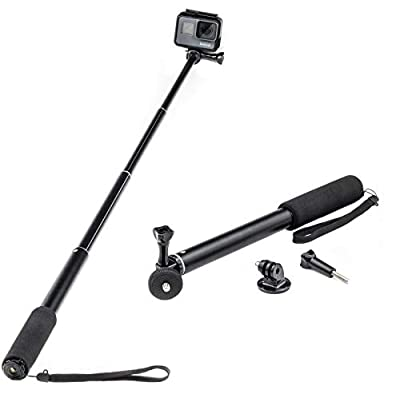 "Digicharge Extendable Action Camera Selfie Stick Monopod, Compatible with GoPro Hero9 Hero8 Hero 9 8 Fusion Akaso Brave 5 4 Apeman EKEN H9R Fitfort Crosstour Campark Compact Camera Pole (1/4"" Thread) from Digital Accessories Ltd"